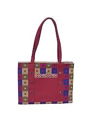 The Runner Pink Check Design Jute Handbag