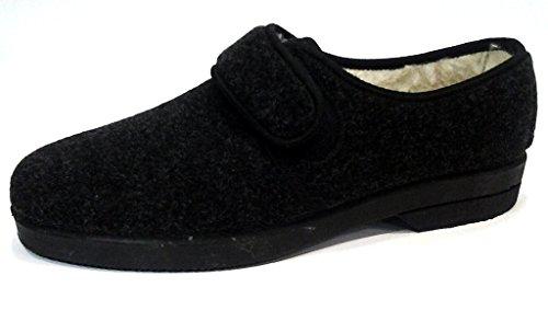 DAVEMA ciabatte pantofole invernali da uomo con velcro mod. 57 grigio (43)