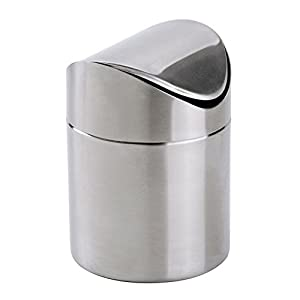 ... Countertop Trash Can, Brushed Stainless Steel, Swing Top Trash Bin 1.5