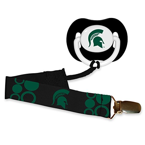 Baby-Fanatic-Pacifier-with-Clip-Michigan-State-University