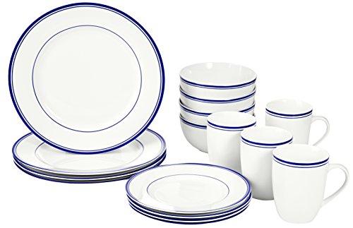 AmazonBasics 16-Piece Cafe Stripe Dinnerware Set, Service for 4 - Blue Dinnerware