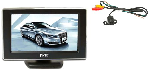 Pyle PLCM44 Car Vehicle Rear View Backup Camera & Monitor Parking Kit, Night Vision Waterproof Cam, 4.3'' Monitor Display, Distance Scale Lines (Wired Backup Camera compare prices)