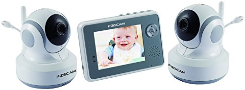 Foscam FBM3501 Digital Video Baby Monitor with 2 Cameras and LCD with Night Vision, White/Gray