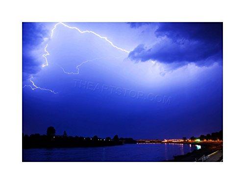 PHOTO FORK LIGHTNING SKY ELECTRIC BLUE FRAMED PRINT F12X3438 (Lightning Foto compare prices)