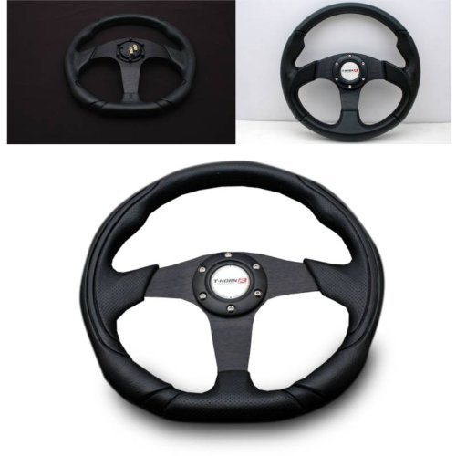 SPPC Universal Racing Steering Wheels (Full Black PVC Leather Spoke) 350MM