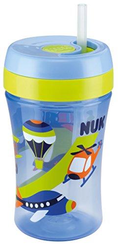 NUK-10255280-Easy-Learning-Cup-Fun-mit-versenkbarem-Trinkhalm-aus-Silikon-fr-Kinder-ab-18-Monaten-BPA-frei-300-ml-blau