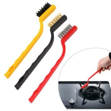 3 pcs Mini Wire Brush Set with Brass, Nylon & Stainless Steel Bristles New Arrival Premium Quality Lowest Price Best Cleaning Tool Kit for Home, Kitchen & Bathroom, Soft Brass Bristles for Cleaning Gas Range Stove Clogged with Dirt, Stiff & Aggressive Stainless Steel Bristles Brush for Removing Rust, Loose Paint, Polishing & Texturing Metals, Angled Head Reaches Corners & Cleans Dirt & Debris, Comfortable, Easy to Hold, Convenient, Use for Cleaning Various Kitchen Appliances, Gas Burners & Taps