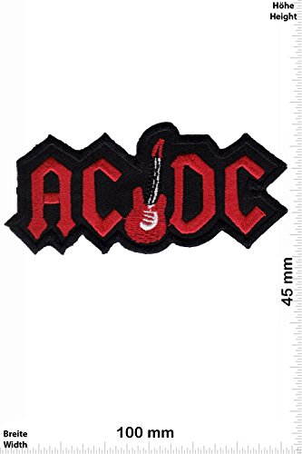 Patch - ACDC - AC DC - with guitar - red - MusicPatch - Rock - Chaleco - toppa - applicazione - Ricamato termo-adesivo - Give Away
