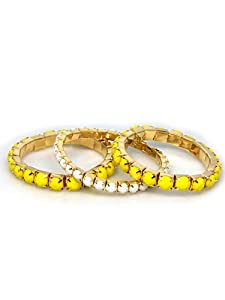 Fashion Jewelry ~ 3 Piece Set Yellow and White Bracelets