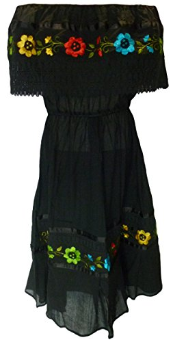 Women's Puebla Crochet Mexican Embroidered Dress - Black