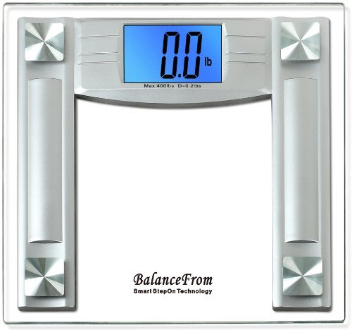 Balancefrom High Accuracy Digital Bathroom Scale With Large Backlight Display And Step-On Technology, 4.3 Inch, Silver front-147448