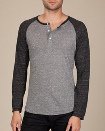 Alternative Unisex Long Sleeve Raglan Henley Shirt
