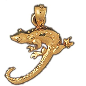 Dazzlers Solid 14 karats Gold Lizard Charm Pendant available in three colors from jewelsberry (weights: 2.4 grams only)