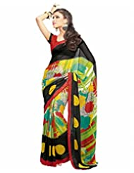 Vipul Shifali Black Floral Print Georgette Saree With Zari Woven Border