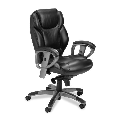 "Mayline Ultimo Managerial Mid-back Chair-Mid-Back Chair,24-1/2""x26-1/2""x24-1/2""x38-1/2""x41-1/2"",BK"