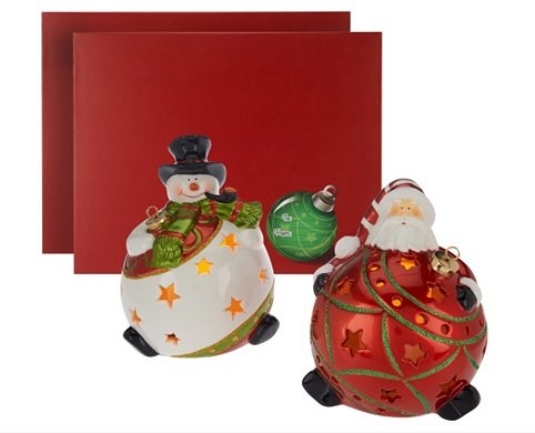 S/2 QVC Home Reflections H202869 Santa & Frosty Flameless Candles Luminaries W Timers in Gift Boxes (Rustic Country Candle Wrap)