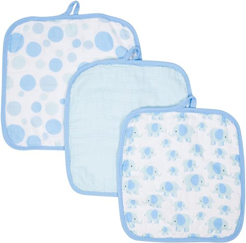 Miracle Blanket MiracleWare Muslin Washcloths, Elephants, 3 Pack