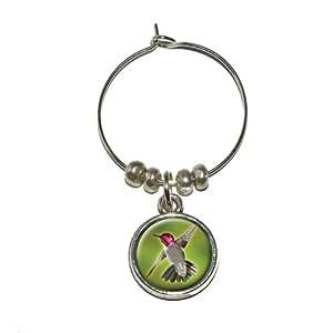 Anna's Hummingbird - Bird Wine Glass Charm Drink Stem Marker Ring