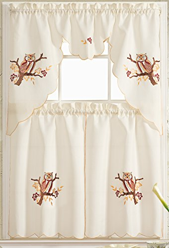 Owl Curtains - Owl 3 Piece Embroidered Kitchen Curtain Set (2 ...