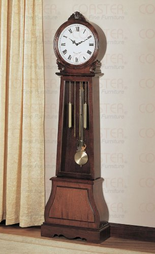 Grandfather floor standing clock in cherry wood with round face