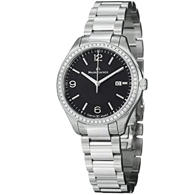 Maurice Lacroix Miros Ladies Black Dial Stainless Steel Diamond Watch MI1014-SD502-330 by Maurice Lacroix