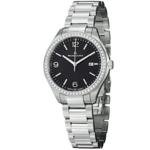 Maurice Lacroix Miros Ladies Black Dial Stainless Steel Diamond Watch MI1014-SD502-330