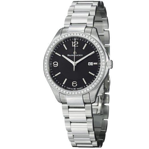 Maurice Lacroix Miros Ladies Black Dial Stainless Steel Diamond Watch MI1014-SD502-330