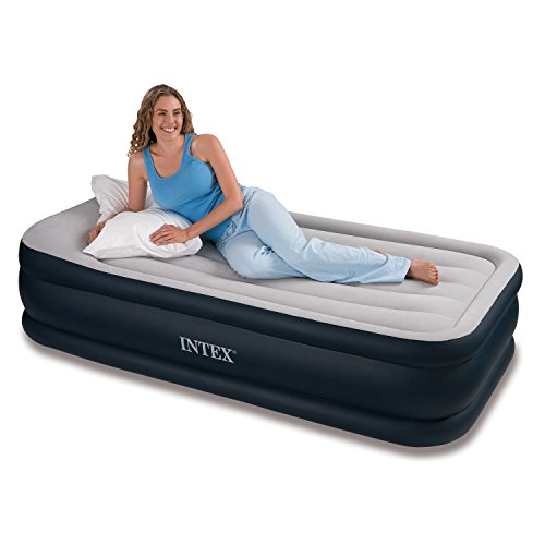 Intex Deluxe Pillow Rest Raised Airbed with Soft Flocked Top for Comfort, Built-in Pillow and Electric Pump, Twin, Bed Height 16 3/4″