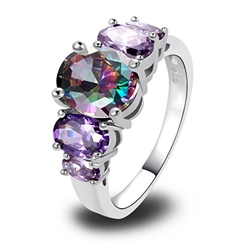 PSEZY Mystic Rainbow Topaz Amethyst rings for Women Vintage Engagement Rings Promise Rings MAE02-B2 11.0 (Oster 11 2 Blade compare prices)