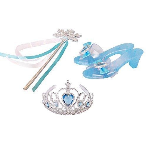 Frozen Regno Di Ghiaccio - Elsa la regina delle nevi Principessa Corona Diadema Fiocco di neve Bacchetta e pantofola diamante blu Set