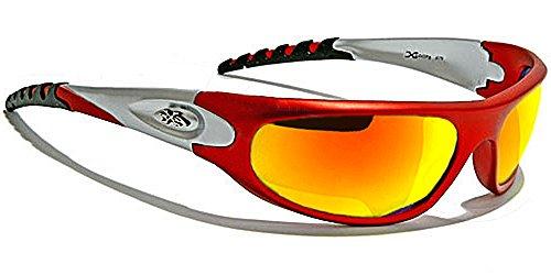 Occhiali da Sole X-Loop - Sport - Ciclismo - Sci - Tennis - Moto - Running / Mod. 026P Rosso Fire Iridium Specchio