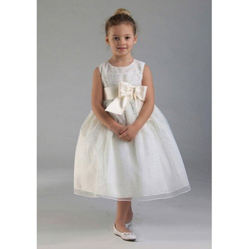 Crayon Kids Ivory Tulle Bow Easter Flower Girl Dress 3T front-1077021