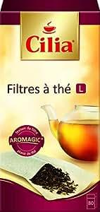 Cilia- Lot de 2-  80  Filtres à thé, taille L idéals pour les théières,