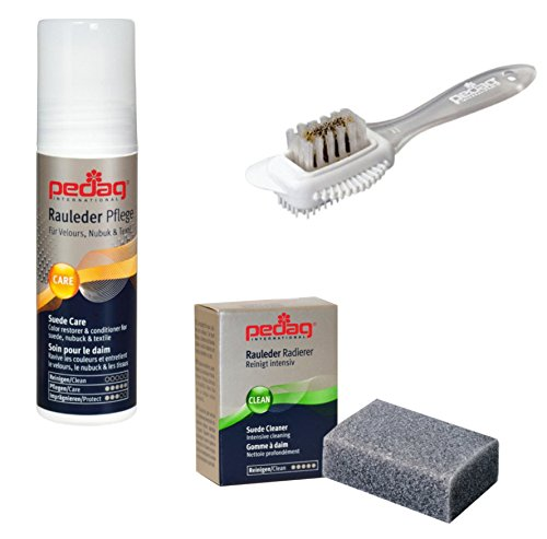 Pedag Suede Sheepskin Nubuck Leather and Textile Color and 3 Pc. Care Kit, Neutral, (Suede Cleaner Brush compare prices)