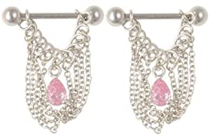 Sexy Chain Dangle Nipple Ring PAIR Body Jewelry PINK NR from Bold Steel
