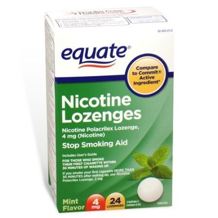 Equate – Nicotine Lozenge 4 mg, Stop Smoking Aid, Mint Flavor, 24 Lozenges