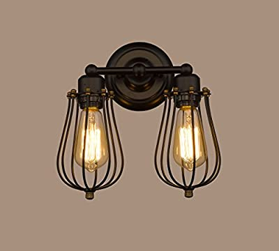CLAXY® Ecopower Vintage Style 2-lights Industrial Black Mini Wire Cage Wall Sconce