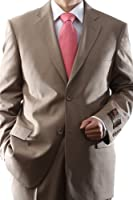 Men's 2 Button Super 150s Extra Fine Tan Dress Suit with Flat Front Pants