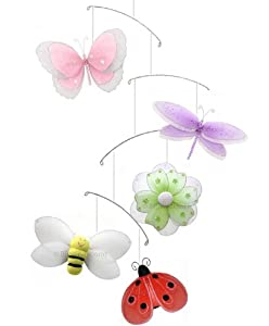 Multi Layered Butterfly Dragonfly Ladybug Flower Bee Nylon Mobile Decorations. Decorate a Baby Nursery Bedroom, Girls Room Hanging Ceiling Decor, Wedding Birthday Party, Bridal Baby Shower, Bathroom. Butterflies Ladybugs Flowers Mobiles Decoration