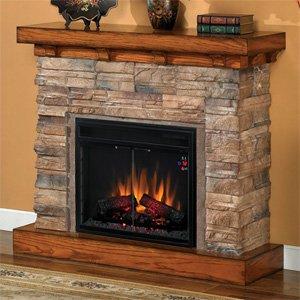 Stone electric fireplace electric fireplace stone Stacked stone mantel and electric fireplace