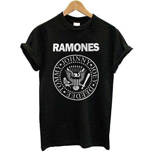 T-shirt Uomo - Ramones maglietta con stampa rock band 100% cotonee LaMAGLIERIA,M, Nero