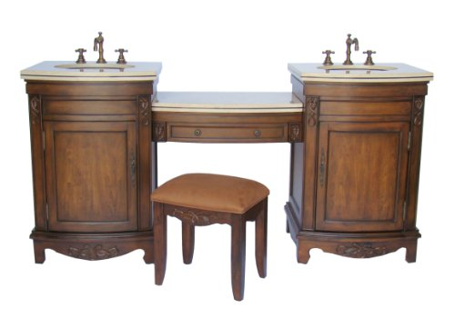 Vanities: 74quot; 4 PCS. SET Double Bathroom Sink Vanity w/dressing table