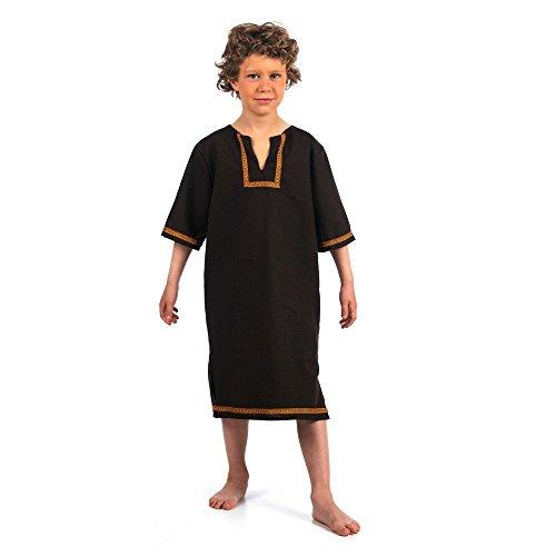 media-eta-tunica-con-fregio-per-bambini-a-maniche-corte-medievale-drappeggi-shoperama-marrone-scuro