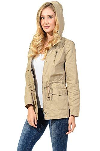 Auliné Collection Womens Military Safari Utility Fashion Hoodie Anorak Jacket Khaki L