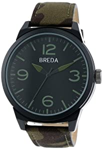 Breda Men's 8144-Camogreen Stephen Camouflage Green Leather Band Watch