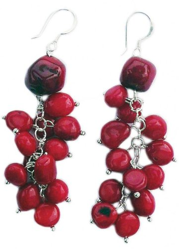 Red Coral rough Earrings and 925 sterling silver hooks