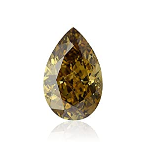 7.02Cts Fancy Dark Yellow Brown Loose Diamond Natural Color Pear Shape GIA Cert