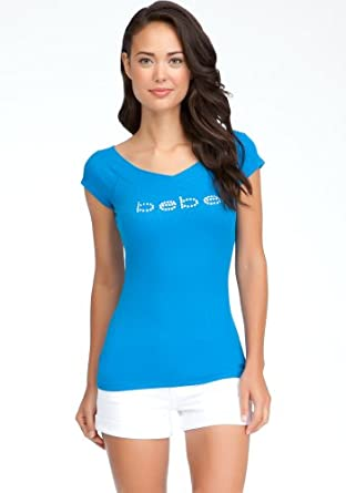 bebe Logo Double V-neck Tee Logo Electric Blue Lemnad-xl