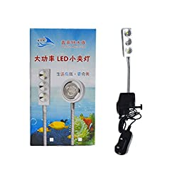 Perfect Aquarium LED Bracket lamp suitable for Small aquariums and bowls | 3 LED Bulbs | Power: 7.5 watt