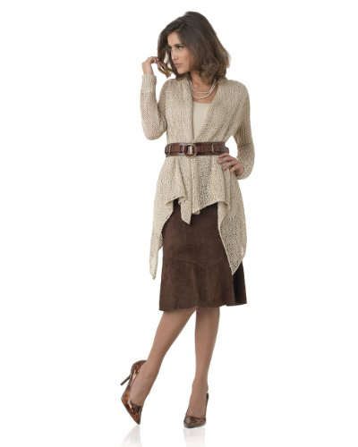 Drape-Front Cardigan with Shawl Collar in Openwork Crochet